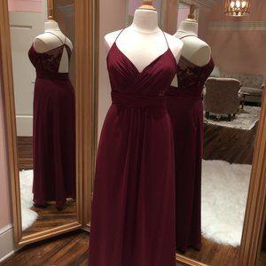 Wine, long chiffon bridesmaid dress